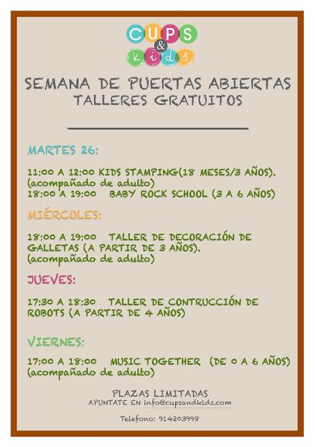 TALLERES GRATUITOS DE 'GALLETAS JESSITARTAS' PARA PEQUES, ACOMPAÑADOS DE ADULTO, EN LA SEMANA DE PUERTAS ABIERTAS DE CUPS&Kids (Madrid). Pasa un rato estupendo con tu hijo/sobrino/primo… ¡¡¡No te lo pierdas!!!