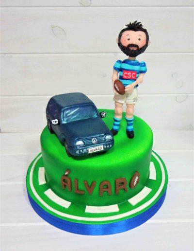 Tarta Jugador de Rugby con su coche